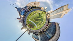Little Tiny Planet 360 Degree. Victory Square. Kiev Stock Footage
