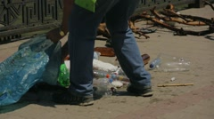 Volunteers Collecting Garbage From River Stock Footage