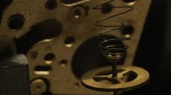 Gear macro shooting.old clock cogwheel mainspring Stock Footage