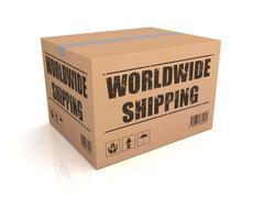 Worldwide shipping cardboard box concept 3d illustration Stock Illustration