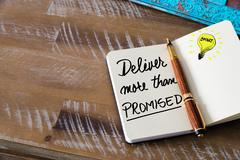 Written text DELIVER MORE THAN PROMISED Stock Photos