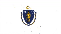Celebratory animated flag of the great state of Massachusetts Stock Footage