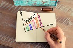 Business woman drawing a colourful PROFIT graph Stock Photos