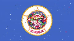 Celebratory animated flag of the great state of Minnesota Stock Footage