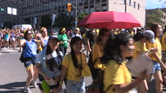 Diverse college and university students in Toronto during frosh week Stock Footage
