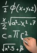 Formulas chalkboard write concept 3d illustration Stock Illustration
