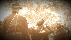 Civil War soldiers firing guns in formation (Archive Footage Version) Stock Footage