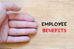 Employee benefits text concept Stock Photos