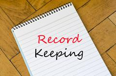 Record keeping text concept Stock Photos