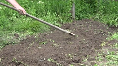 Husbandman Working in Own Rural Garden Digging Land for Healthy Organic Culture. Stock Footage