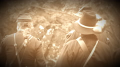 Civil War Union soldiers having a meeting (Archive Footage Version) Stock Footage