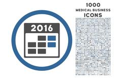 2016 Month Calendar Rounded Icon with 1000 Bonus Icons Stock Illustration