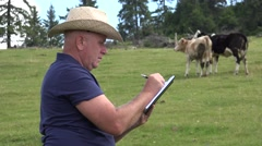 Cowboy Farmer Write in Agenda Number of Cows Grazing on the Ranch Field.  Stock Footage