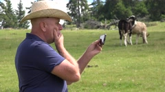 Disappointed Rancher Gesturing After Read on Phone Email Box Business Bad News. Stock Footage