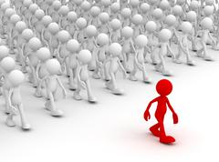 Crowd following leader concept 3d illustration Stock Illustration