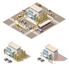 Vector isometric low poly police building icon Stock Illustration