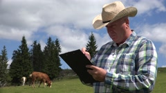 Livestock Farm Activity Stock Breeder Note on Clipboard Analyzing Each Animal. Stock Footage