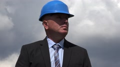 Businessman Inspecting Building Site Engineer Supervise Employees Fieldwork. Stock Footage