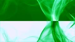 Wave of dark green smoke on green & white horizontal splited background 3 Stock Footage