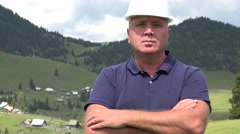 Proud and Serious Building Worker Image Presenting Trustworthy Employee Profile. Stock Footage