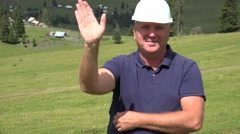 Skilled Labor Presentation in Time He Make Welcoming Hand Gesture Hello Sign. Stock Footage
