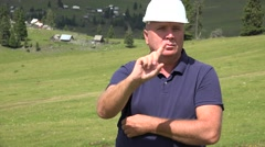Workman Nod Answering in Interview with Negative Sign Hand Deny Gesturing. Stock Footage