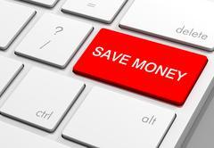 Save money keyboard concept 3d illustration Stock Illustration