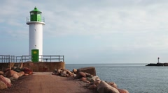 Morning view of Ventspils lighthouses Stock Footage