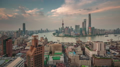 Sunset shanghai cityscape bay roof top panorama 4k time lapse china Stock Footage