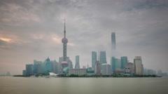 Sunset fog shanghai cityscape traffic river bay 4k time lapse china Stock Footage