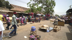 African market street scene, city view - daily life in Senegal Stock Footage