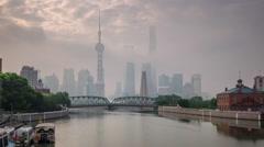 Shanghai city morning fog river bay bridge panorama 4k time lapse china Stock Footage