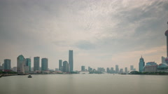 Rainy sunset sky shanghai city river bay panorama 4k time lapse china Stock Footage