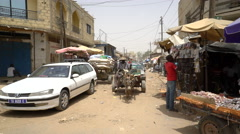 African street scene, city view - daily life in Senegal Stock Footage