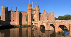Moated brick castle Stock Footage