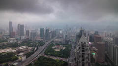 Storm rainy sky shanghai cityscape roof top panorama 4k time lapse china Stock Footage
