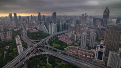 Shanghai sunset storm sky road junction city panorama 4k time lapse china Stock Footage