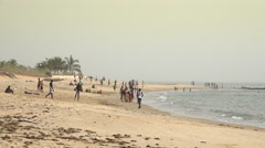 Black people in a African beach - landscape in Africa Stock Footage
