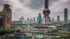 Shanghai city oriental pearl tower square panorama 4k time lapse china Stock Footage