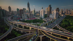 Shanghai city traffic road junction roof top panorama 4k time lapse china Stock Footage