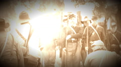 Union and Confederate Civil War soldiers in bat(Archive Footage Version) Stock Footage