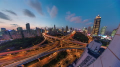 Night shanghai traffic road junction roof top panorama 4k time lapse china Stock Footage