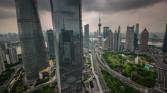 Shanghai downtown sky roof top traffic road panorama 4k time lapse china Stock Footage
