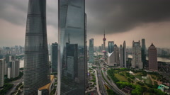Shanghai traffic road storm sky buildings panorama 4k time lapse china Stock Footage