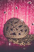 Heart Pendant on Silk Retro Stock Photos