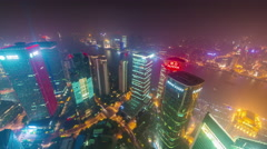 Shanghai downtown night river bay roof top panorama 4k time lapse china Stock Footage