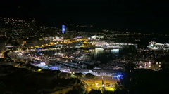 Fontvieille Harbor Night View Of Monaco Stock Footage