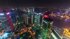 Shanghai cityscape night roof top arial panorama 4k time lapse china Stock Footage