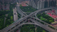 Day shanghai city traffic road junction roof top panorama 4k time lapse china Stock Footage