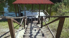 Gazebo on the lake Stock Footage